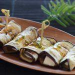 Rollitos de berenjenas con queso de cabra. Un aperitivo delicioso