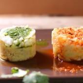 Timbal de bacalao con puré de batata y mojos