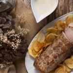 Cinta de lomo de cerdo con salsa de mostaza