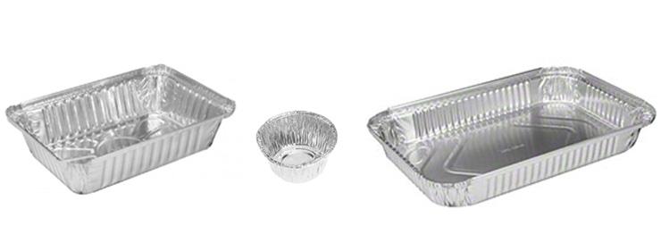 diferentes moldes de aluminio desechables
