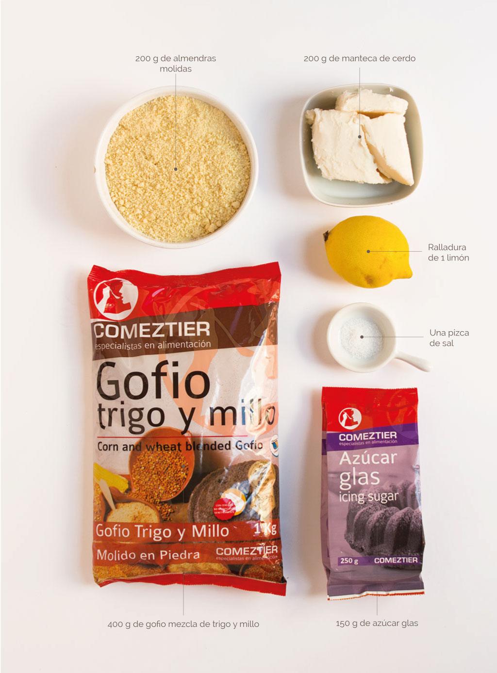 ingredientes para hacer polvorones de gofio
