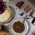 Mini crêpes rápidos con crema de gofio, avellanas y cacao