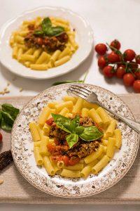 pasta al pesto de tomates seocs