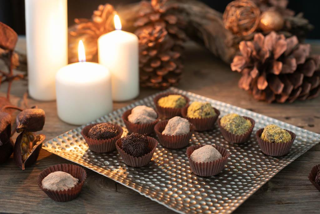 trufas de chocolate y crema de gofio