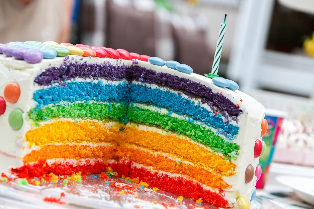 tarta de cumpleaños arcoiris